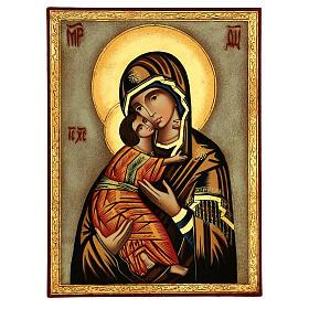 Icône Vierge de Vladimir fond blanc 30x25 cm peinte Roumanie s1