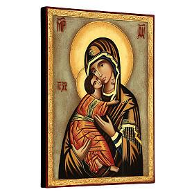 Icône Vierge de Vladimir fond blanc 30x25 cm peinte Roumanie s3