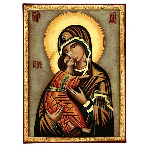 Icône Vierge de Vladimir fond blanc 30x25 cm peinte Roumanie 1