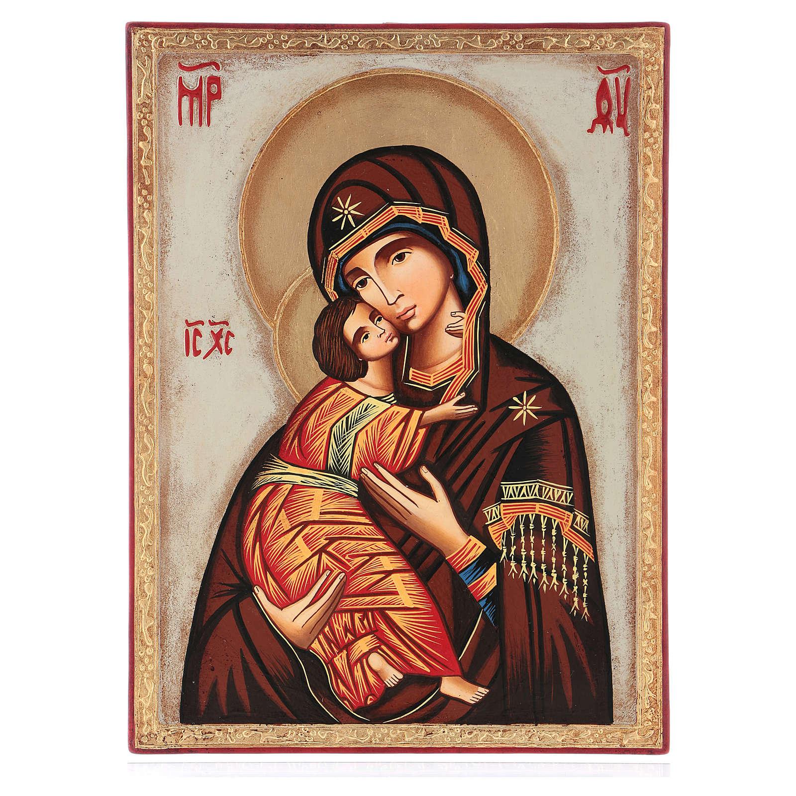 Icona Madre Dio Vladimirskaja fondo bianco 30x25 cm dipinta Romania 4
