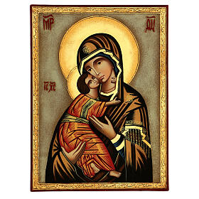 Icona Madre Dio Vladimirskaja fondo bianco 30x25 cm dipinta Romania s1
