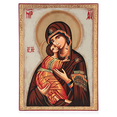 Icona Madre Dio Vladimirskaja fondo bianco 30x25 cm dipinta Romania 1