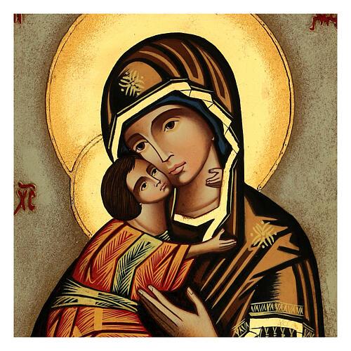 Icona Madre Dio Vladimirskaja fondo bianco 30x25 cm dipinta Romania 2