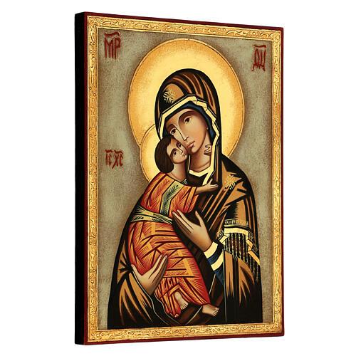 Icona Madre Dio Vladimirskaja fondo bianco 30x25 cm dipinta Romania 3