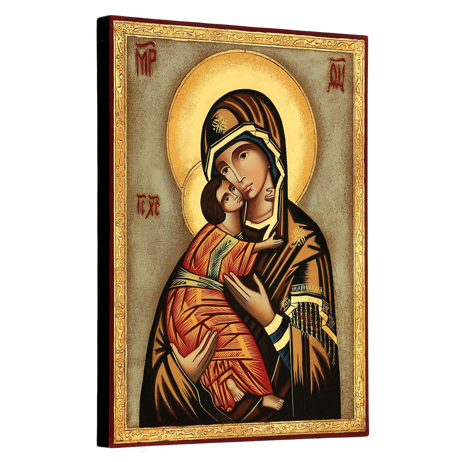 Ícone Mãe de Deus de Vladimir fundo branco 30x25 cm pintado Roménia 4