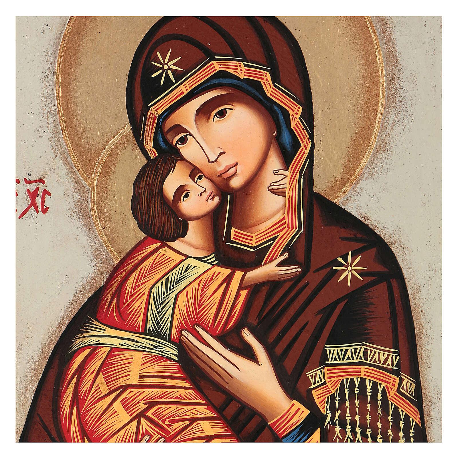 Icon Mother of God Vladimirskaja, white background 30x25 cm painted Romania 4