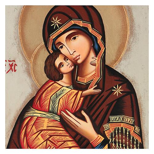 Icon Mother of God Vladimirskaja, white background 30x25 cm painted Romania 2