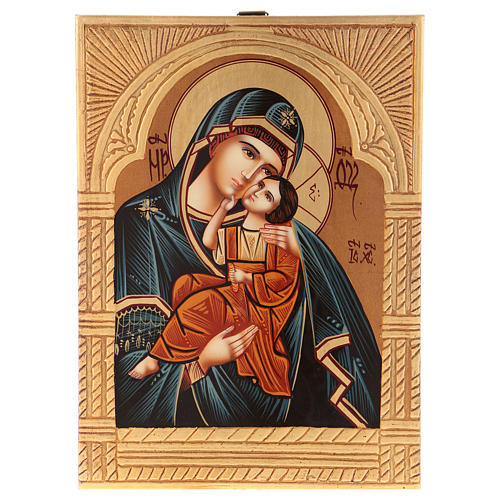 Romanian icon of Our Lady of Jaroslavskaja with golden decorations 30x20 cm 1
