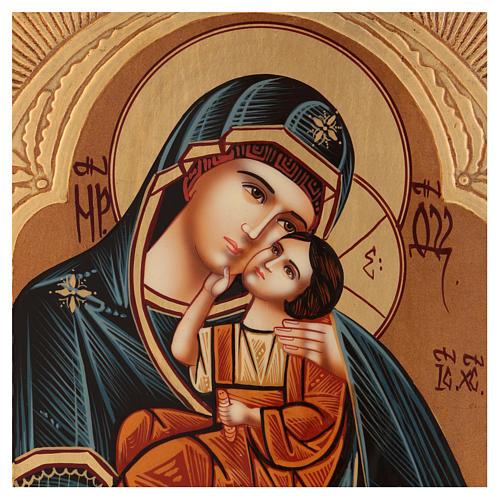 Icona Madre Dio Jaroslavskaja decori dorati 30x20 cm dipinta Romania 2