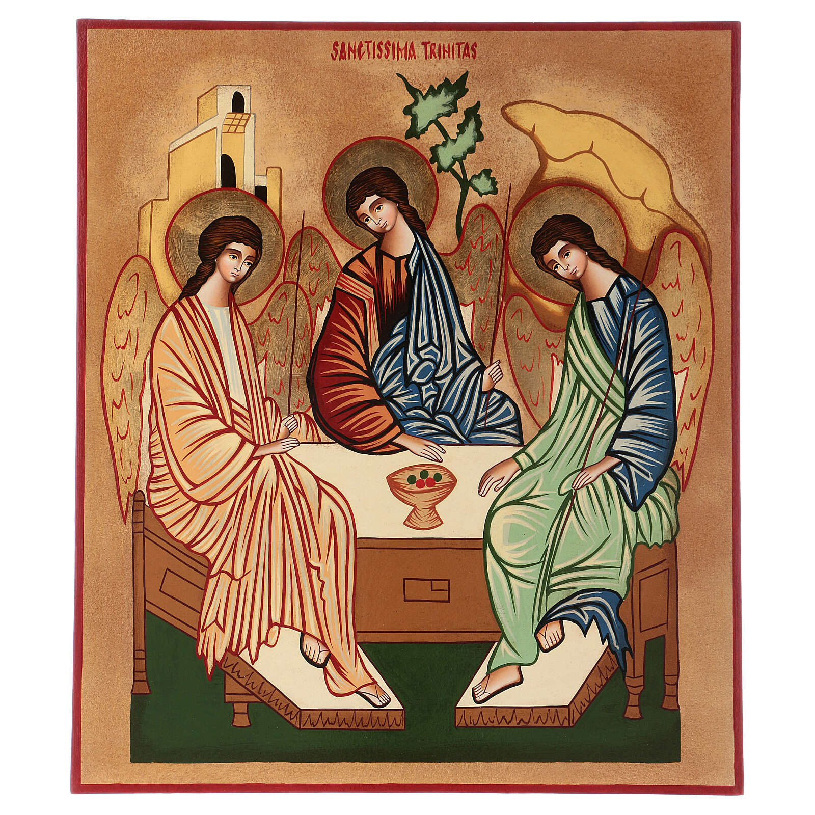 Icono Santísima Trinidad 40x30 cm pintado a mano Rumanía 4