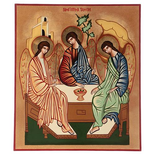 Icona Santissima Trinità 40x30 cm dipinta a mano Romania 1