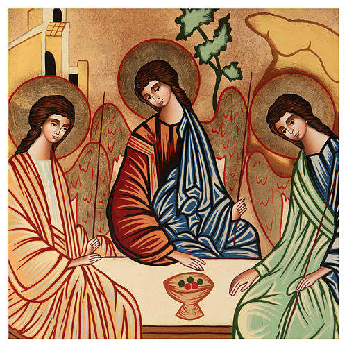 Icona Santissima Trinità 40x30 cm dipinta a mano Romania 2