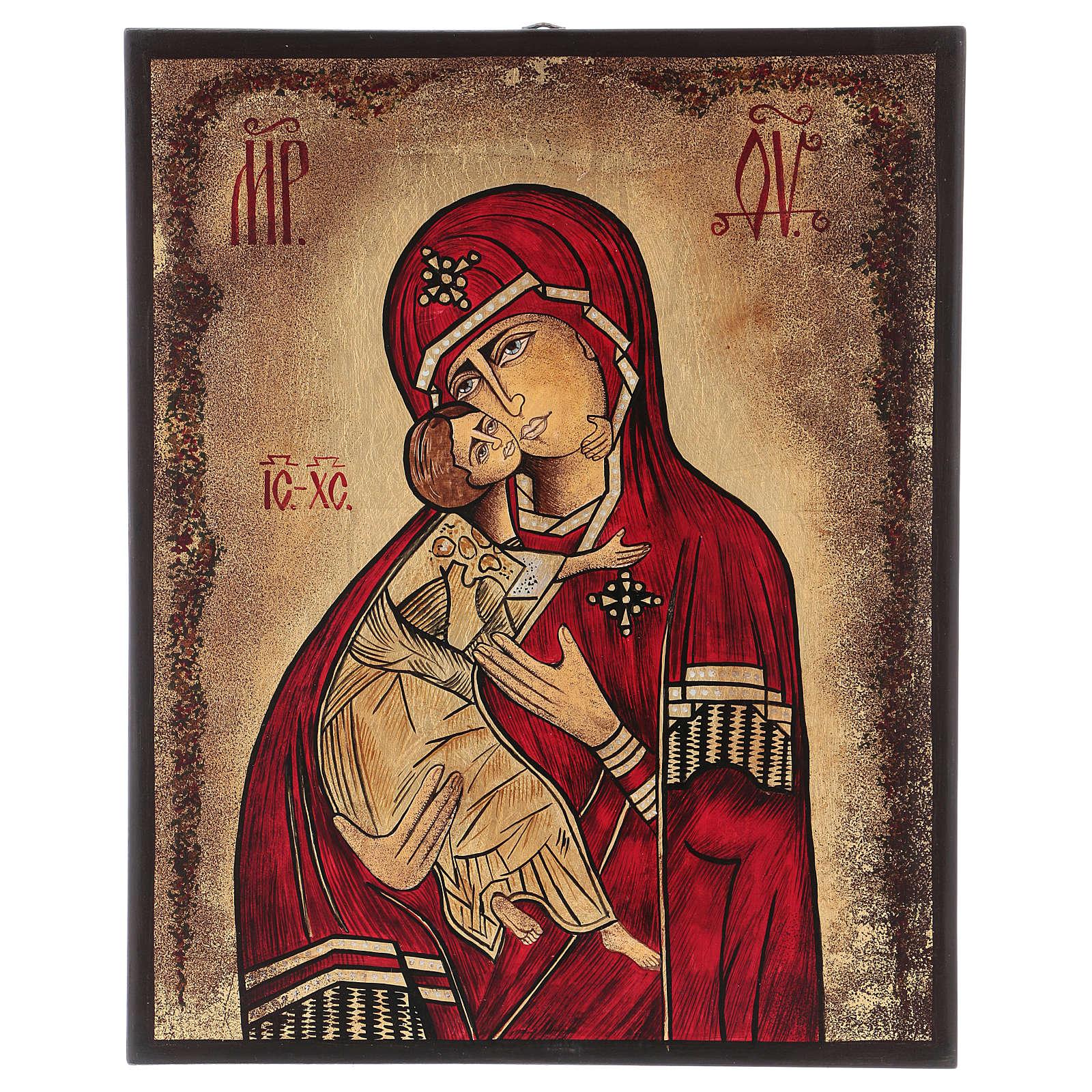 Icona Madonna della Tenerezza 35x30 cm dipinta Romania 4