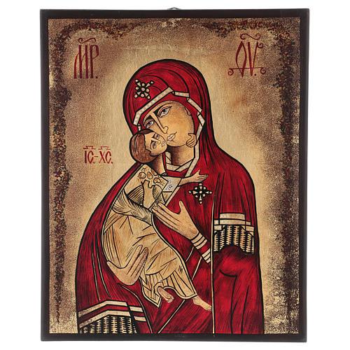 Icona Madonna della Tenerezza 35x30 cm dipinta Romania 1