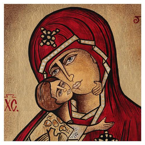 Icona Madonna della Tenerezza 35x30 cm dipinta Romania 2