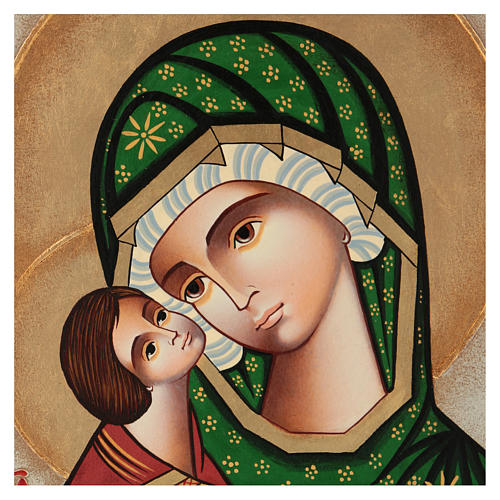 Ícone pintado Nossa Senhora da Ternura Roménia 38x32 cm
