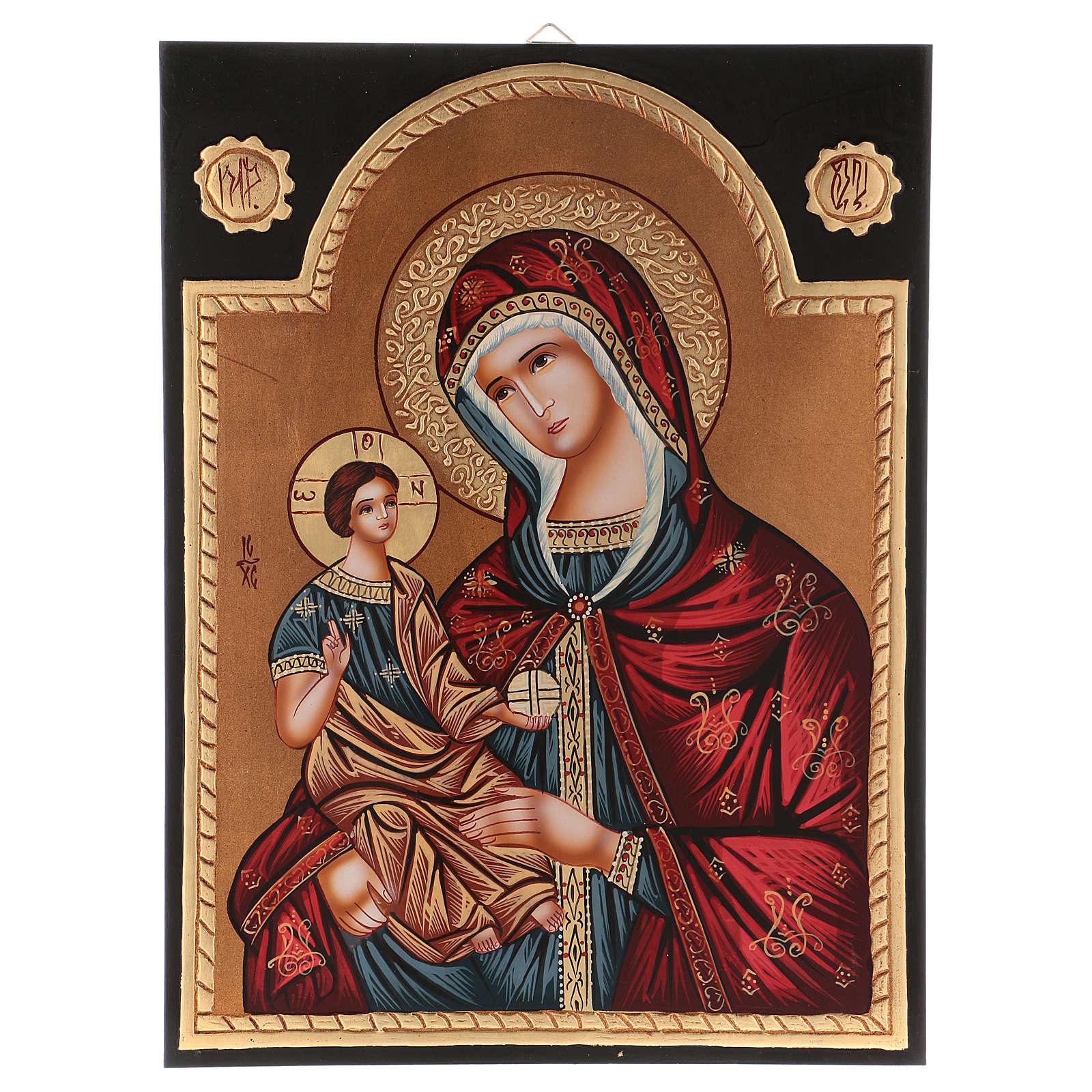 Icona Madre di Dio Hodighitria 40x30 cm dipinta Romania 4