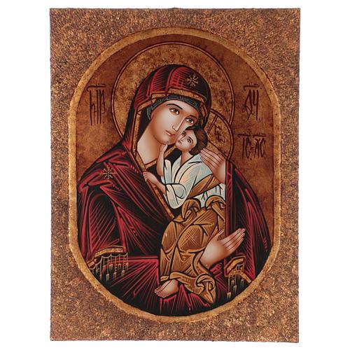 Icona Madre di Dio Jaroslavskaja 40x30 cm dipinta Romania 1