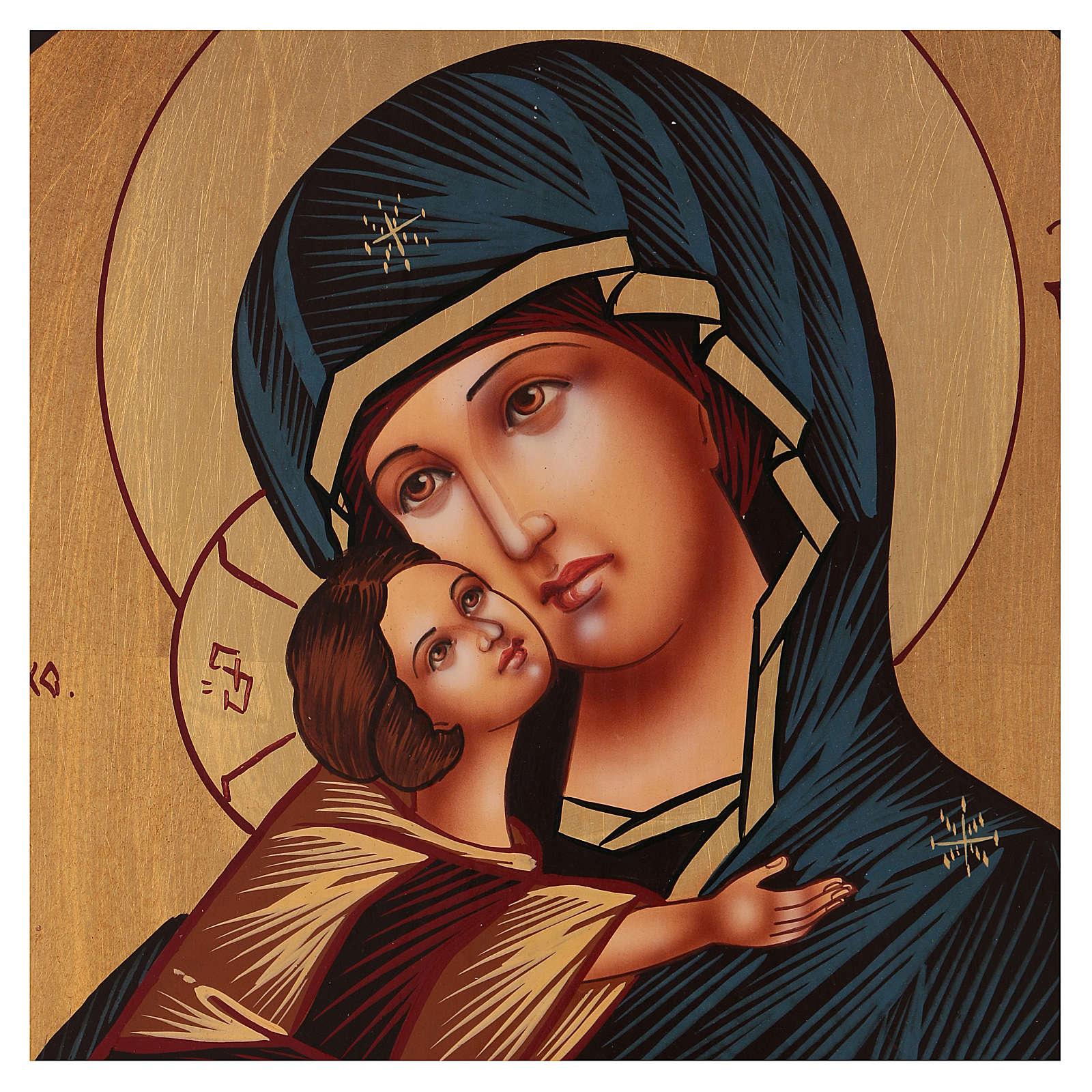 Trittico Madre di Dio e Angeli 40x60 cm dipinta Romania 4