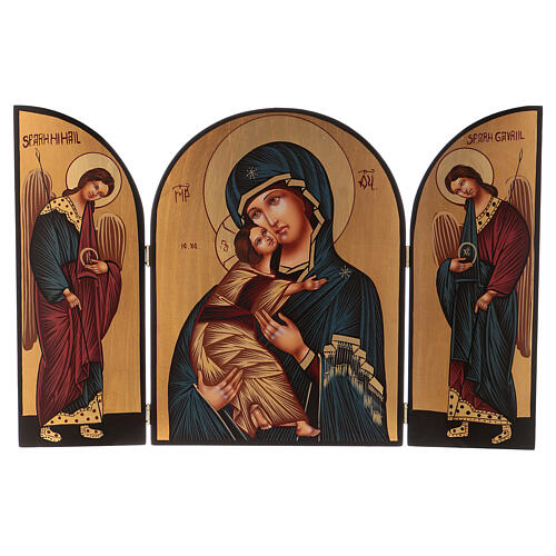 Triptych Mother of God and Angels, 40x60 cm painted Romania 1