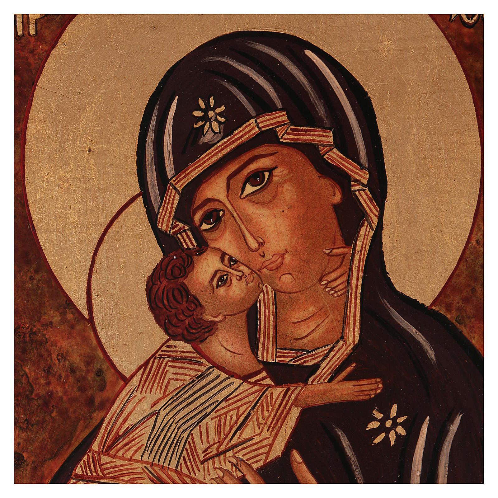 Icona Madre Dio Vladimirskaja vecchio stile 40x30 cm dipinta Romania 4