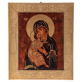 Icona Madre Dio Vladimirskaja vecchio stile 40x30 cm dipinta Romania s1