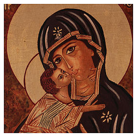Icona Madre Dio Vladimirskaja vecchio stile 40x30 cm dipinta Romania s2