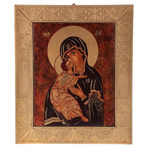 Icona Madre Dio Vladimirskaja vecchio stile 40x30 cm dipinta Romania 1