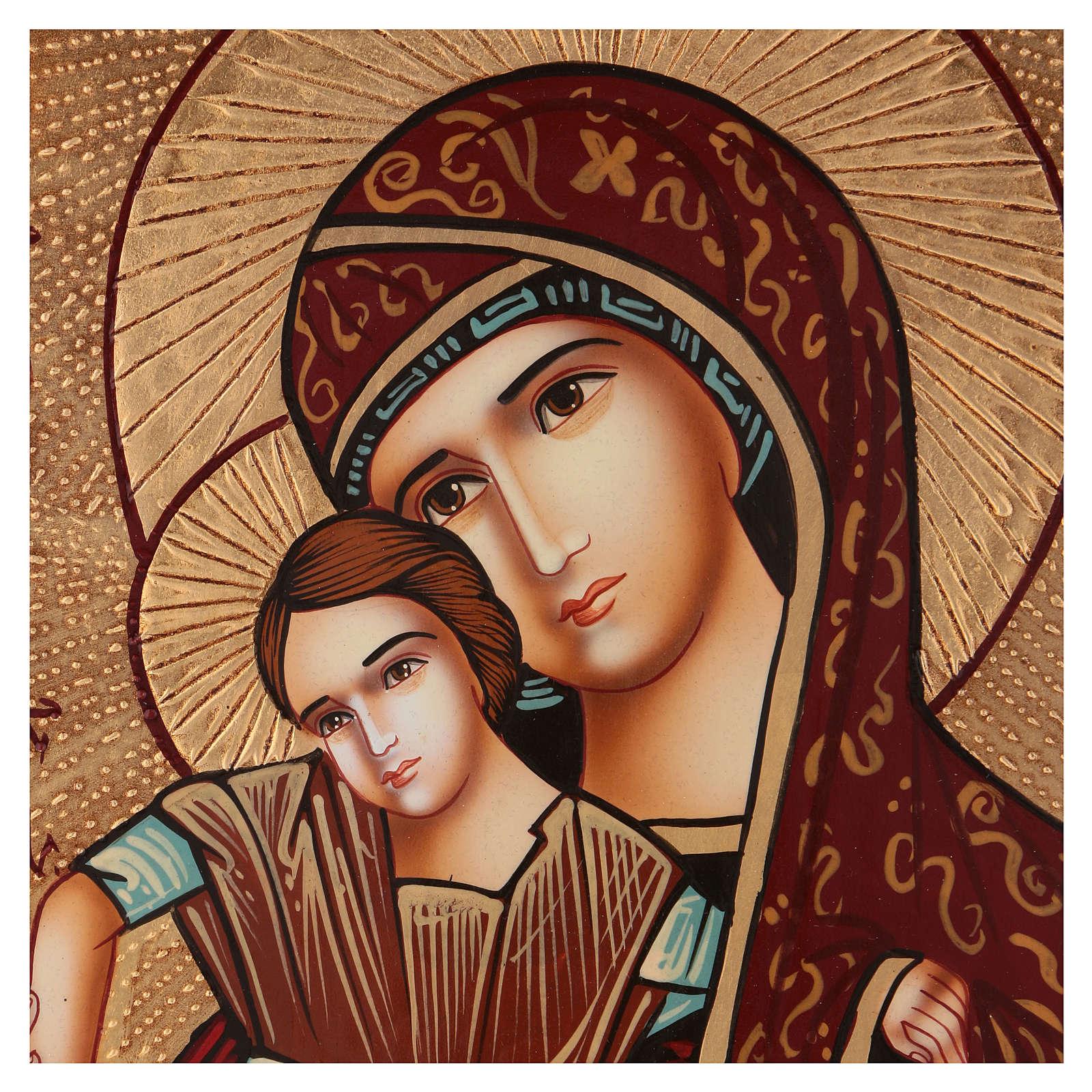 Icona Madre di Dio di Dostojno Est 40x30 cm dipinta Romania 4