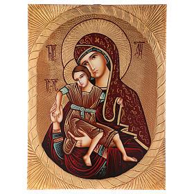 Icona Madre di Dio di Dostojno Est 40x30 cm dipinta Romania s1