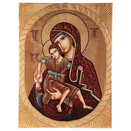 Icona Madre di Dio di Dostojno Est 40x30 cm dipinta Romania 1