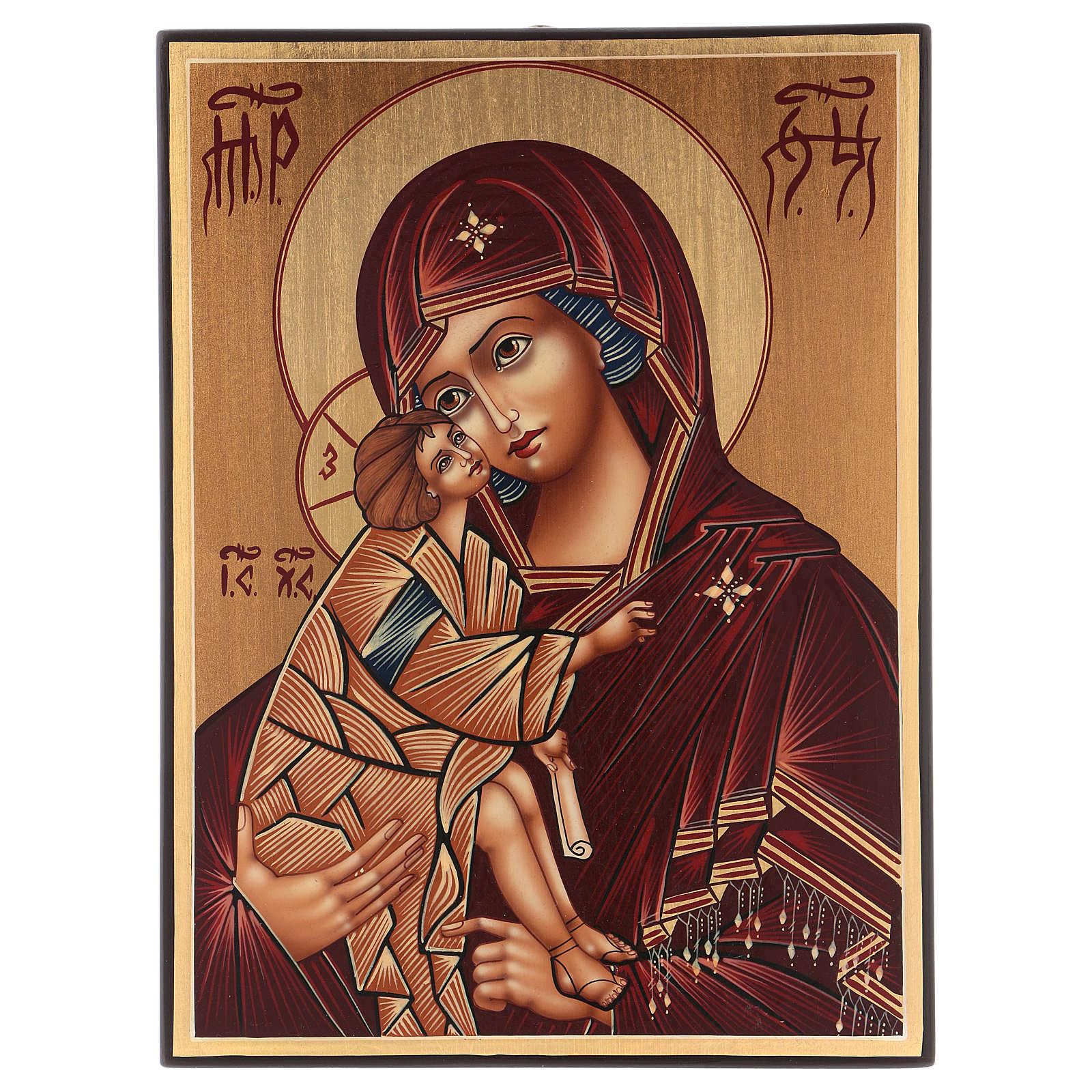 Icona Madre di Dio Donskaja 30x25 cm dipinta Romania 4