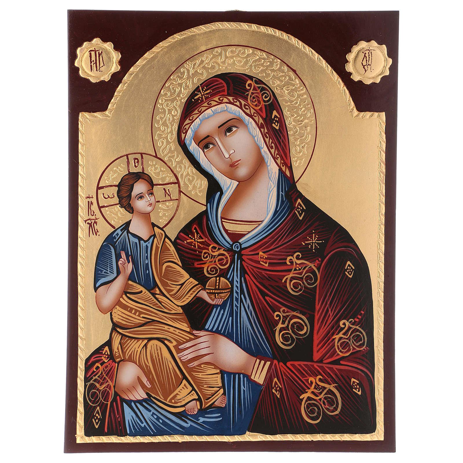 Icona Madre di Dio Hodighitria su fondo oro 40x30 cm dipinta Romania 4