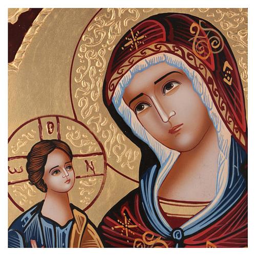 Icona Madre di Dio Hodighitria su fondo oro 40x30 cm dipinta Romania 2