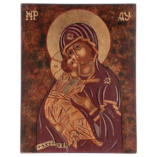 Icona Madre di Dio Vladimirskaja 35x30 cm dipinta Romania 1