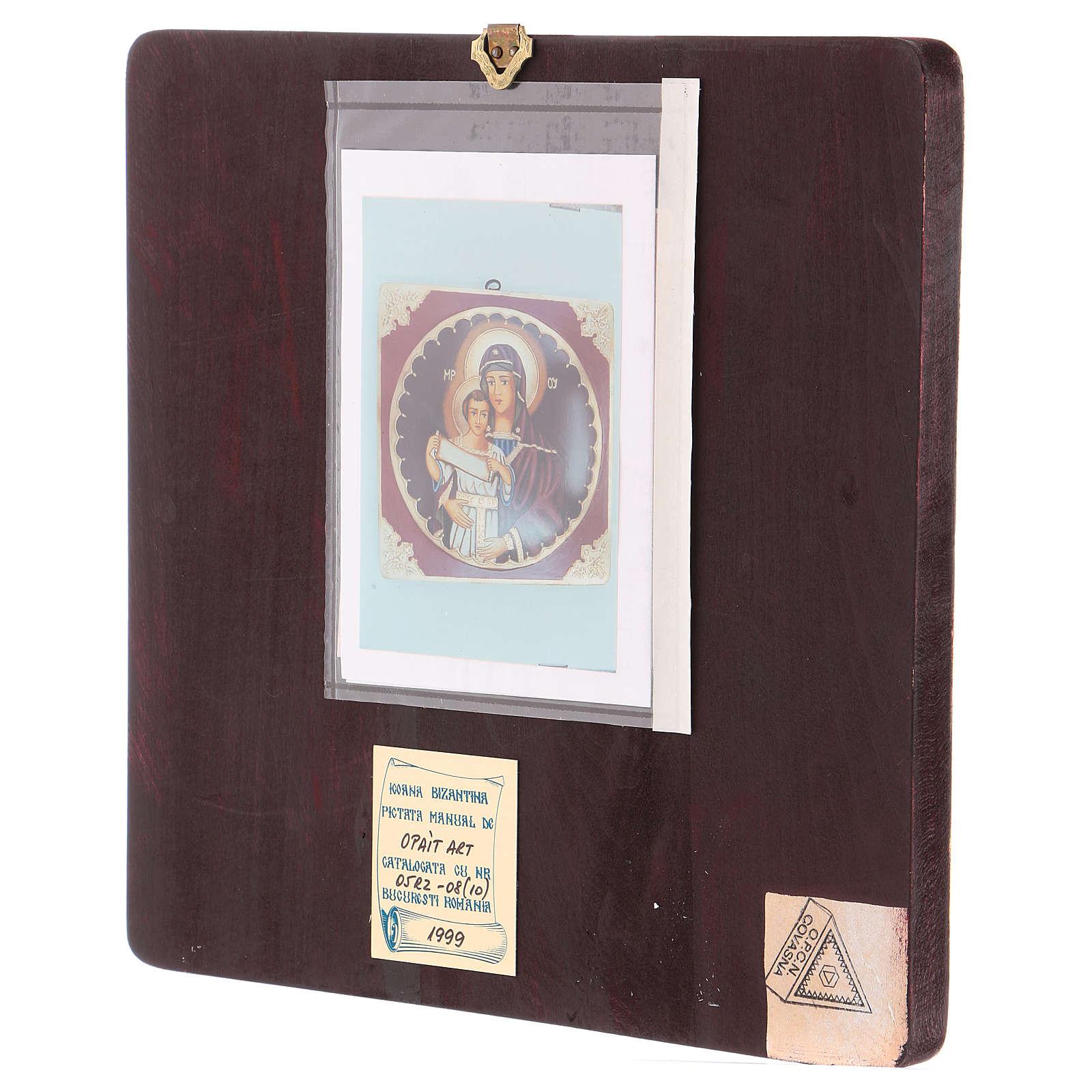 Icona Madre di Dio con Bambino 25x25 cm dipinta Romania 4