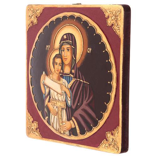 Icona Madre di Dio con Bambino 25x25 cm dipinta Romania 3