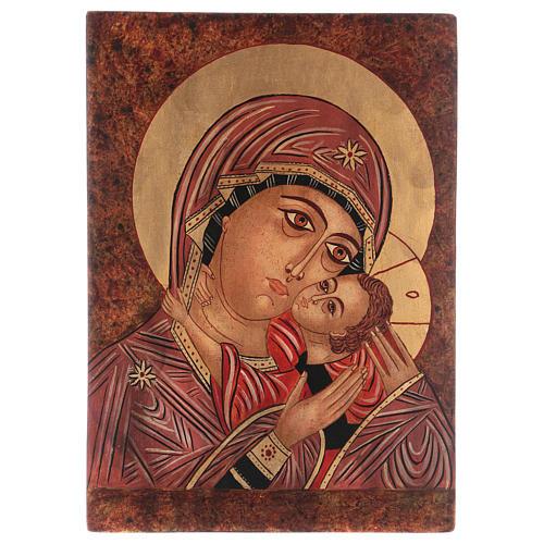 Icona Madre di Dio Kasperovskaja 35x30 cm dipinta Romania 1