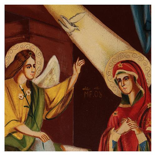 Icona Annunciazione 40x30 cm dipinta Romania 2