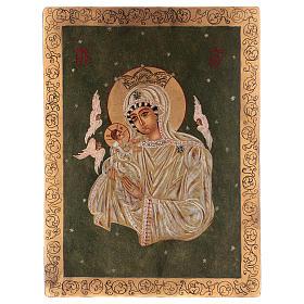 Icona Madre di Dio su sfondo verde 40x30 cm dipinta Romania s1