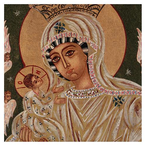 Icona Madre di Dio su sfondo verde 40x30 cm dipinta Romania 2