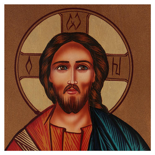 Icona Gesù Maestro e Giudice 30x25 cm dipinta Romania 2