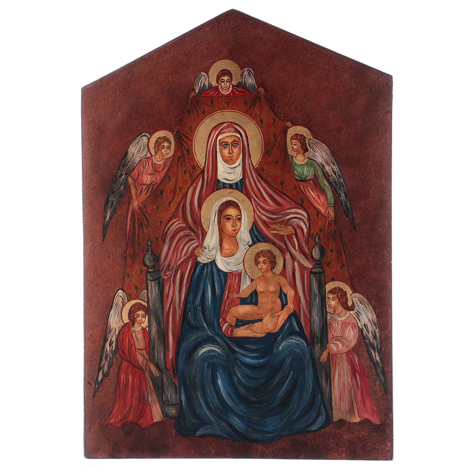 Ícone Santa Ana Metterza 40x30 cm pintada Roménia 4