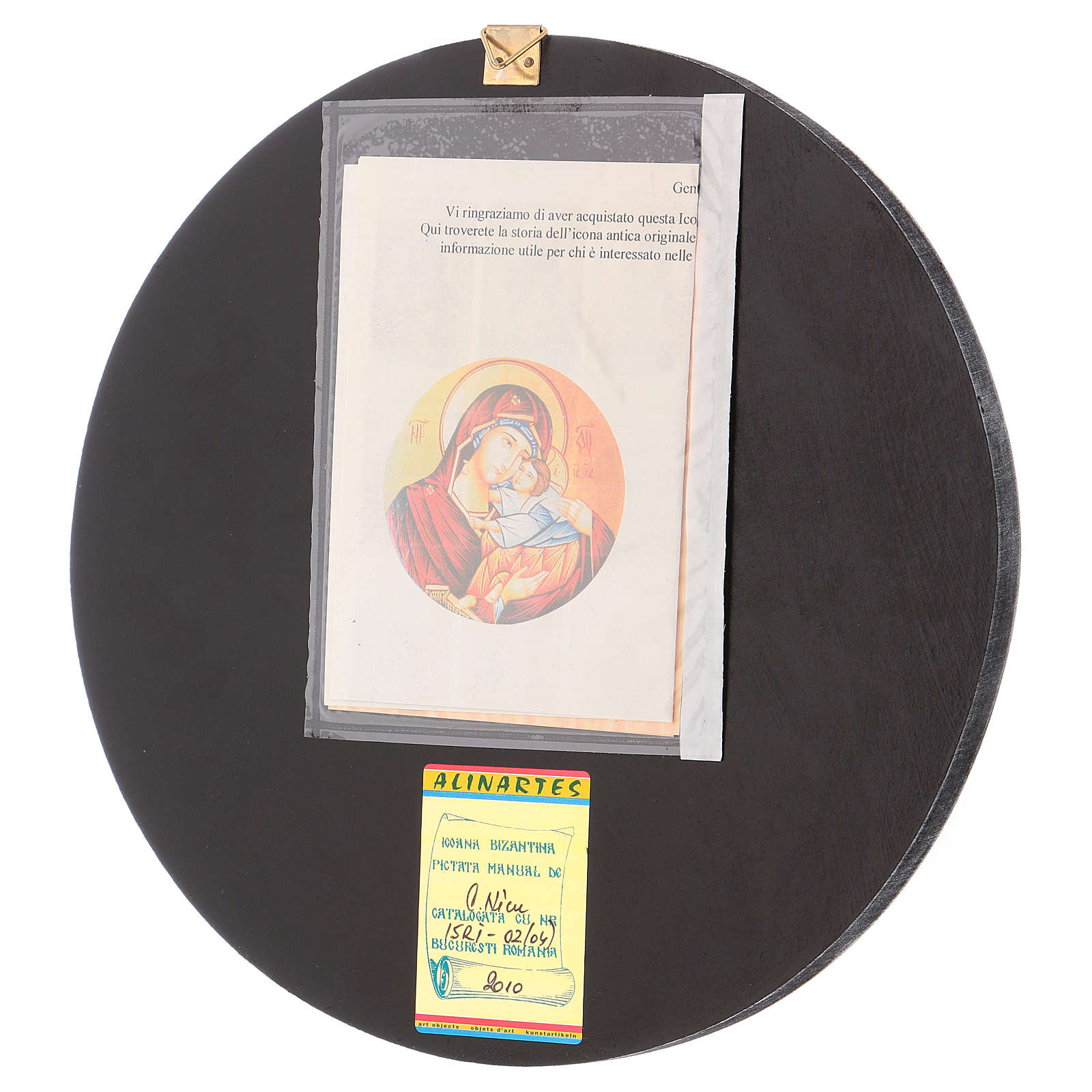 Round icon of Our Lady of Vladimirskaja diam. 28 cm 4