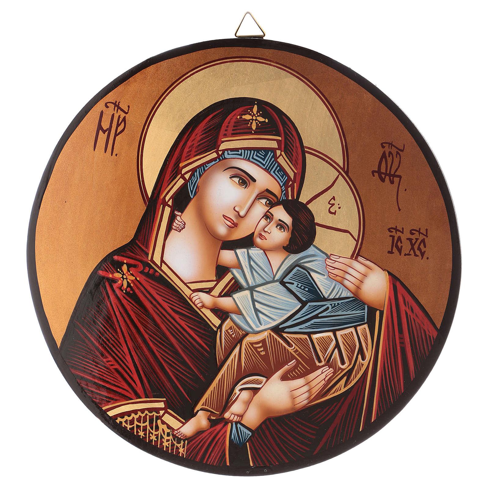 Icona tonda Madre di Dio Vladimirskaja diam. 28 cm dipinta Romania 4