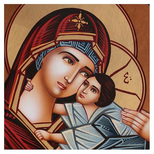 Icona tonda Madre di Dio Vladimirskaja diam. 28 cm dipinta Romania 2