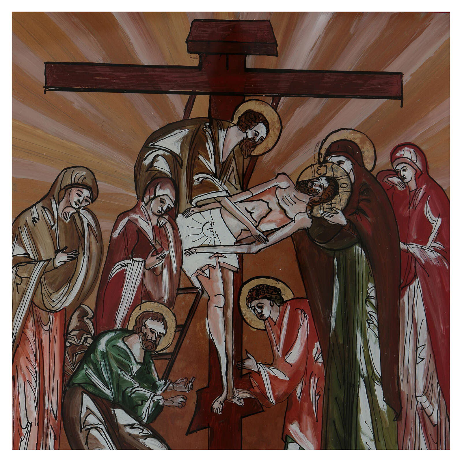 Icono deposición de Cristo pintado vidrio 40x40 cm Rumanía 4