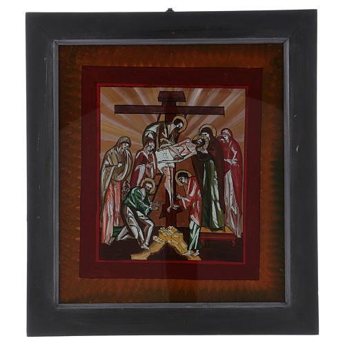 Icône Descente de Croix peinte sur verre 40X40 cm Roumanie 1
