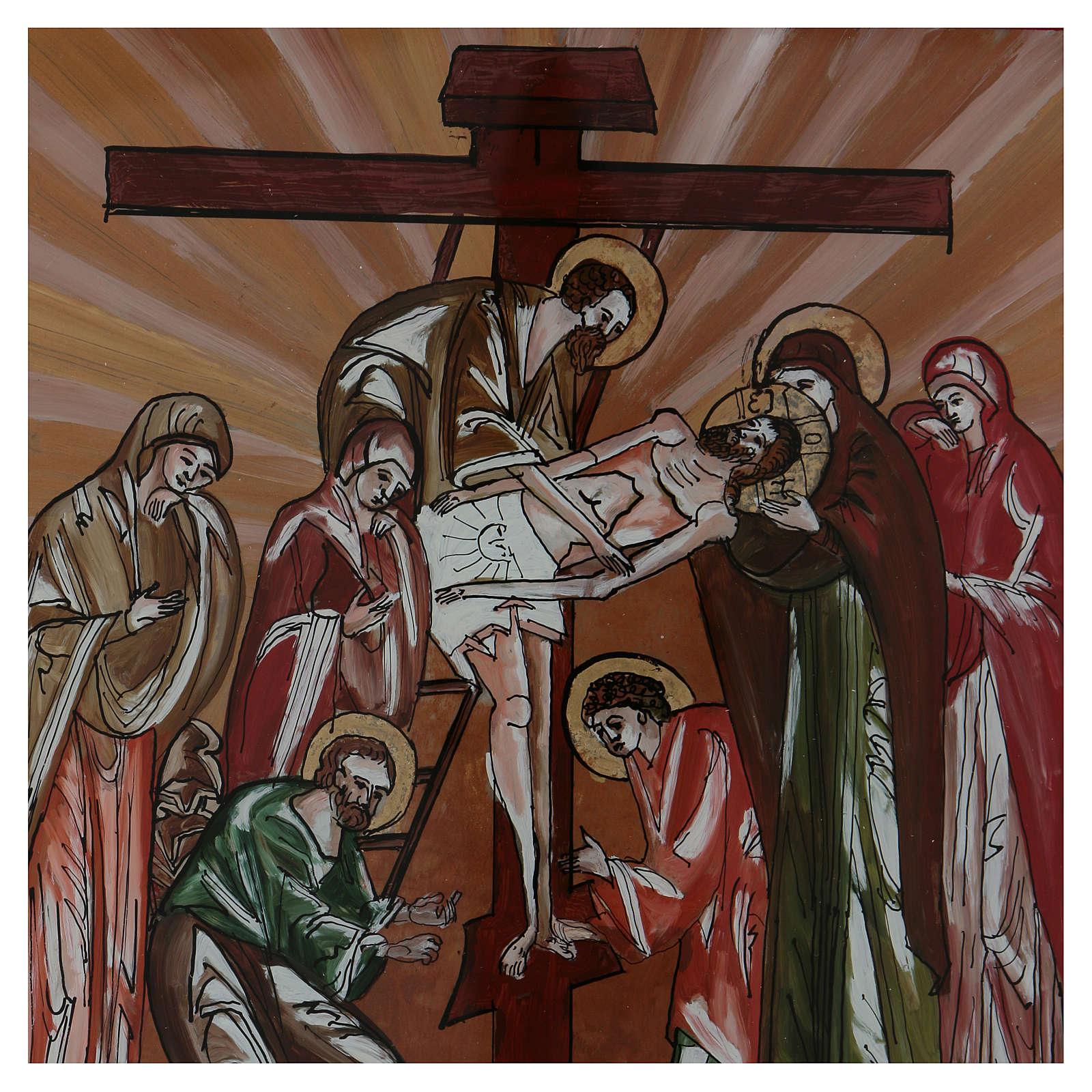 Icona deposizione di Cristo dipinta su vetro 40X40 cm Romania 4