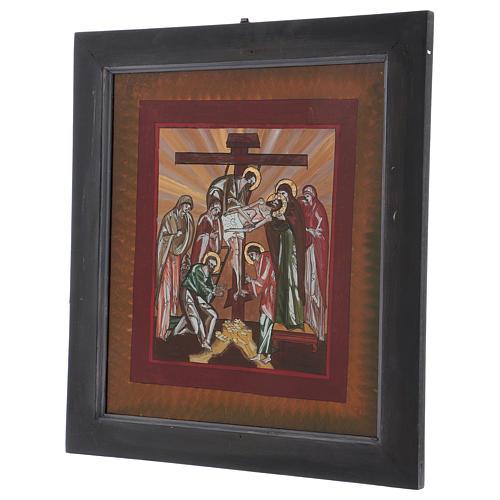 Icona deposizione di Cristo dipinta su vetro 40X40 cm Romania 3